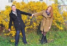 在手夫妇拥抱的秋叶 免版税库存照片
