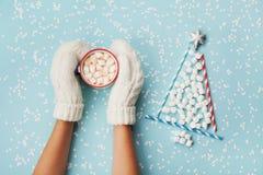 在手套举行杯子的妇女手热的可可粉或巧克力和圣诞节杉树由蛋白软糖制成装饰了银色星 免版税库存图片
