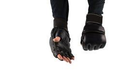 在手套的战斗机的手武术的 免版税库存照片