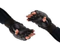 在手套的战斗机的手 握手在手套的军事a的 免版税库存照片