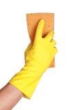 在手套的现有量与海绵 图库摄影