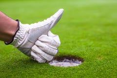在手套高尔夫球的人的手在孔附近显示好 库存照片