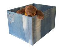 在手工制造玩具箱的熊 免版税库存图片