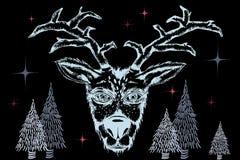 在手拉的驯鹿冷杉和星的消极颜色的构成 免版税库存照片