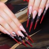 在手指的长的美好的修指甲在与蜘蛛的黑和红颜色 钉子设计 特写镜头 免版税图库摄影