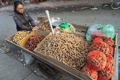 在手推车的罗望子树,集合待售,狂放的街市, Ha连队,越南,亚太 免版税库存照片
