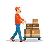 在手推车的送货人运载的箱子,在制服的传讯者在工作漫画人物传染媒介例证 库存例证