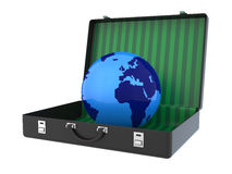 在手提箱3D里面的地球 免版税库存图片