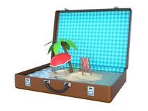 在手提箱3D里面的微型海岛 免版税库存照片