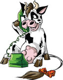 在手机的母牛 免版税库存图片