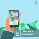在手机的流动gps航海有地图海报的 库存照片
