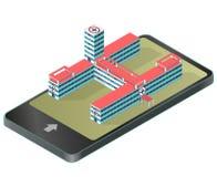 在手机的等量医疗大楼 药房图表 Infographic元素 皇族释放例证