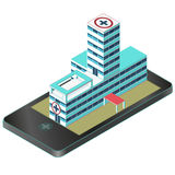 在手机的等量医疗大楼 药房图表 Infographic元素 向量例证