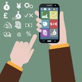 在手机的股市 库存照片