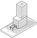 在手机的被概述的等量医疗大楼 免版税库存照片