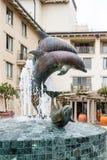 在手段的海豚喷泉 库存照片