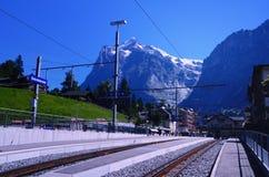 在手段的火车站格林德瓦(瑞士) 免版税库存照片