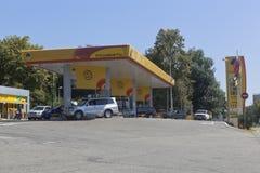 在手段解决爱德乐,索契加剧在列宁街上的填装的公司` Rosneft ` 图库摄影