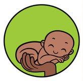 在手边说谎父母的新出生的非洲的乌木婴孩 免版税图库摄影