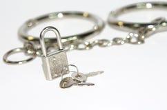 在手铐背景的小银色锁 免版税库存图片