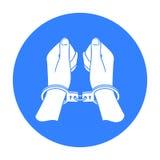在手铐象的手在被隔绝的白色背景中 罪行标志股票 向量例证