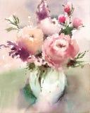 在手画花瓶水彩静物画的例证的花 库存图片