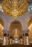 在扎耶德Mosque回教族长里面阿布扎比的,阿拉伯联合酋长国, Uniter阿拉伯人酋长管辖区 库存照片