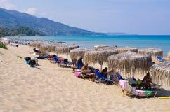 在扎金索斯州海岛上的爱奥尼亚人海滩 免版税库存照片