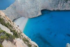 在扎金索斯州海岛上的美丽的盐水湖  免版税库存照片