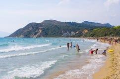 在扎金索斯州海岛上的Gerakas海滩 库存图片