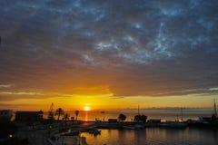 在扎金索斯州市,爱奥尼亚人海岛,希腊口岸的日出  库存图片