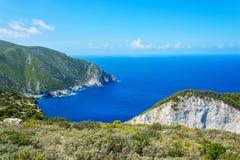 在扎金索斯州海岛上的海湾  爱奥尼亚海 希腊 免版税库存照片