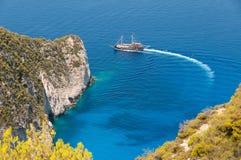 在扎金索斯州海岛,希腊上的海难海湾 免版税库存图片