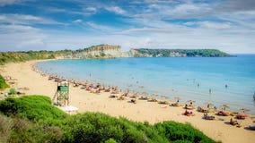 在扎金索斯州海岛,希腊上的Gerakas海滩 免版税图库摄影