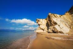 在扎金索斯州海岛,希腊上的Kalamaki海滩 免版税库存图片