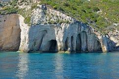在扎金索斯州海岛,希腊附近的爱奥尼亚海 免版税库存照片