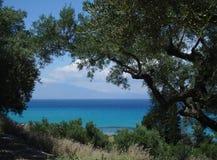 在扎金索斯州,希腊的海视图 图库摄影