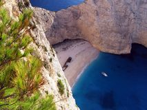 在扎金索斯州,希腊的海难海滩 免版税库存图片