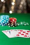 在扑克牌游戏的同花顺 免版税库存图片