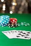 在扑克牌游戏的同花顺 免版税图库摄影