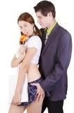 在打比赛的一个性感的角色的夫妇 免版税库存图片