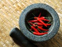 在打谷的篮子纹理的红辣椒 库存照片