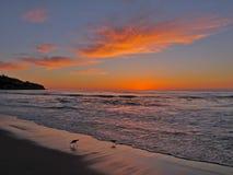 在托兰斯海滩的黄昏在南加州 库存图片
