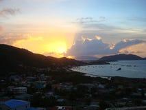 在托尔托拉岛的清早日出 库存图片