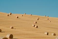 在托斯卡纳的亩茬地的圆的干草捆 意大利 免版税库存图片