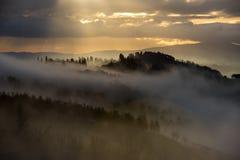 在托斯卡纳的小山的有雾的早晨在圣吉米尼亚诺附近的,托斯卡纳,意大利 图库摄影