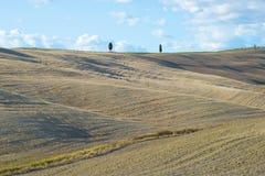 在托斯卡纳的领域的一晴朗的9月天 意大利 图库摄影