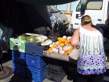在托萨德马尔肋前缘Brava西班牙的水果市场摊位 免版税库存照片