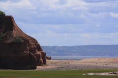 在托马斯小海湾新斯科舍的砂岩岩石 库存图片