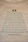 在托马斯・杰斐逊Memoral的独立宣言 免版税库存照片
